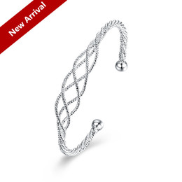 Wholesale 925 Chain For Sale - 2017 Best Gift for Ladies Hot Sale 925 Silver Plated Fashion Hollow New Mesh Elegant Bangle Luxury Diamonds Set Jewelry Bracelet Free ship
