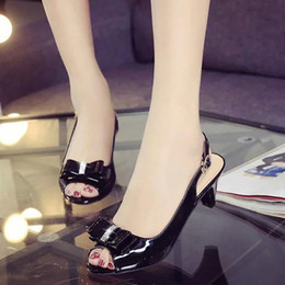 Wholesale Womens Slingback Shoes - Women Sandals womens sexy peep toe low heel sandals bow slingbacks women summer sandals shoes big size