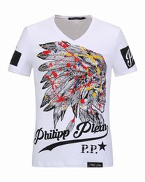 Wholesale Cheap V Neck Mens Shirts - Luxury mens V-Neck Polo tshirts with Colorful Feathers Skulls & Diamond 3D Printed t shirts cheap price Short Sleeve Mens Jacket 18253