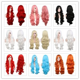 Wholesale Red Black Long Wigs - Long Wavy Cosplay Black Purple White Red Pink Blue Blonde Orange Sliver Gray 80 Cm Synthetic Hair Wigs