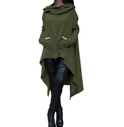 Wholesale Women Fashion Drawings - Women's Fashion Solid Color Draw Cord Coat Long Sleeve Loose Casual Poncho Coat Hooded Pullover Long Hoodies Sweatshirts 13 Colors