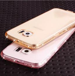 чехлы для мобильных телефонов s6 edge Скидка Мягкий прозрачный алмаз телефон случаях для Samsung Galaxy S6 S6 Edge S7 S7 Edge/ A5 A7 A8 / J5 J7 ультра тонкий ТПУ гель сотовый задняя крышка оптовые