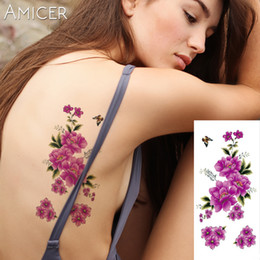 Wholesale Flower Rose Tattoos - 3D lifelike Cherry blossoms rose big flowers sex Waterproof Temporary tattoos women flash tattoo arm shoulder tattoo stickers