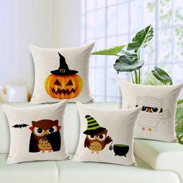 Wholesale Owl Handmade Pillow - Halloween Pumpkin Cushion Cover Breatable Cotton Linen Vampire Bat Owl Pillow Cases Square Pillow Covers for Bedroom Sofa Car