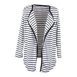 Wholesale Long Sleeve Casual Blouse Patterns - Wholesale-Women Autumn Fashion Long Sleeve Striped Pattern Peplum Casual Tops Cardigan Blouse Jacket Coat Ruffles Coats