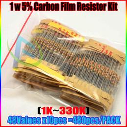 Wholesale 1k Ohm Resistor - Wholesale- New Arrival 48 Values 480pcs 5% 1W Carbon Resistors Assortment Kit Set 1K-2M ohm