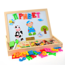 Wholesale Mini Drawing Board - Russian Alphabet Multifunctional Wooden Animal Magnetic Puzzle Drawing Board Learning & Education Toys Hobbies for Children