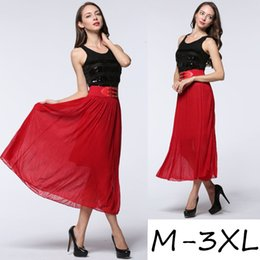 Wholesale Maxi Elastic Waist Chiffon Skirt - M-3XL Women New Product Explosive With Skirts High-End Chiffon Diamond Elastic Waist Ladies Long Maxi skirts