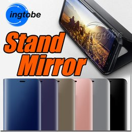 Wholesale Wholesale Silver Plastic Mirrors - For iPhone X 8 Mirror case Electroplate Stand Leather case For Samsung S8 S8 Plus Note 8 J3 Pro J5 Pro S7 edge