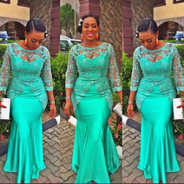 Wholesale Turquoise Dresses Sleeves - Turquoise African Mermaid Evening Dress 2017 Vintage Lace Nigeria Long Sleeve Prom Dresses Aso Ebi Style Evening Party Gowns