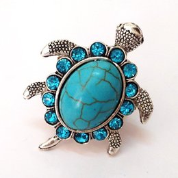 Wholesale Turtle Cute - Cute Rhinestone Bule Turquoise Turtle Tibetan Adjustable Open Ring For Women Men NE632