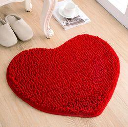 Wholesale Chenille Heart Rugs - 50*60cm Plush Heart Area Carpet Floor Door Mats Antiskid Bathroom Bedroom Soft Fluffy Rug Mats Love Home Deco Wedding Mats