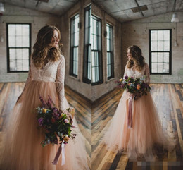 Wholesale Beach White Bohemia Dress - New Country Wedding Dresses with Long Sleeves Lace Blush Tulle V-Neck 2017 Bohemia Garden Beach Wedding Plus Size Bridal Wedding Gowns Cheap