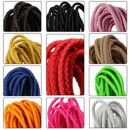 Wholesale Braided Wire Jewelry - 5m PU Braided Leather chains bracelets Beading Wholesale Cord Wire String Rope Chain Fashion Lots Jewelry Mixed Type DIY Charms Bracelets