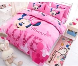 Wholesale Cotton Queen Duvet Covers - Wholesale-Hot Selling 3pcs 4pcs oil print cartoon Girl bedding Pink Minnie Mouse Bedding Sets Home TextileTwin Full queen Size