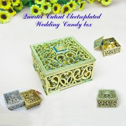 Wholesale Celebration Candy Box - Candy box Wedding Hollowed-out Cuboid Square Electroplated Gold Silver Plastic Chocolate European style Celebration Gift Gorgeous Shining
