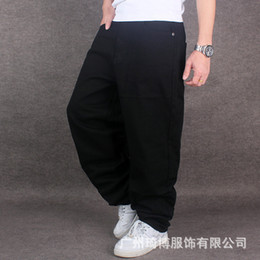 Wholesale Loose Fitting Pants - Wholesale-Mens Pure Black Hiphop Baggy Cotton Denim Jeans Men Loose Fit For Street Dancing Wide Leg Pants Plus Size 42 44 46