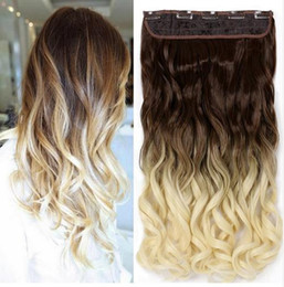 Ombre brazilian clip hair extensions canada best selling ombre kingstar 24 60cm wavy 5clips one piece natural brown two tone ombre synthetic hair piece clip in hair extensions for women pmusecretfo Images