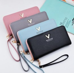 Wholesale Grace Fashion - wholesale brand new package lovely lady candy color women wallet grace litchi grain leather purse fashion large capacity with long wallet