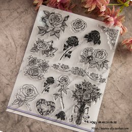 Wholesale Flowers Scrapbook - Wholesale- Flower Scrapbook DIY photo cards account rubber stamp clear stamp seal transparent silicone Handcrafted art stamps