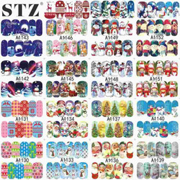 Wholesale nail art sheets - STZ Single 1 Sheets Xmas Christmas 2016 Water Transfer Sticker Nail Art Full Foils Wraps for Christmas DIY Decals A1129-1152
