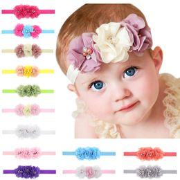 Wholesale Cute Baby Hair Accessories - 2017 New Baby Headband Hair Accessories Handmade Diamond chiffon three flowers Baby girl cute sweet head bands elastic hair band Quality