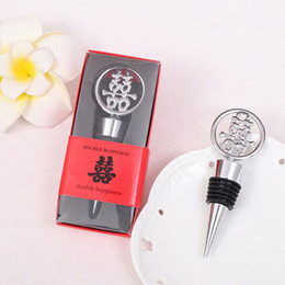Wholesale Bridal Shower Giveaway Gifts - Creative Wedding Supplies Metal Double Happiness Wine Stopper Bridal Shower Gift And Favor Guest Present Giveaway ZA3755