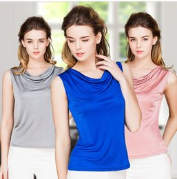 Wholesale Tee Shirt Tanks For Women - 100% Real Silk Women's Tank Tops Wild Model Female Top Shirt For WomanFemme Sleeveless Candy Color Women Tee Shirts Solid Basic