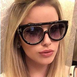 Wholesale Flat Top Retro Sunglasses - New Flat Top Mirror Sunglasses Women Fashion Cat Eye Sun Glasses Luxury Brand Designer Men Retro Oculos de sol feminino UV400 Y202