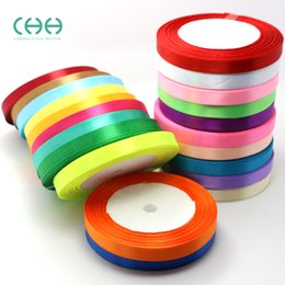 """Wholesale Satin Ribbon Gift Decoration - solid color 5 8""""(15mm) satin ribbons belt gift packing wedding decoration 25yards  roll mixed colors available"""