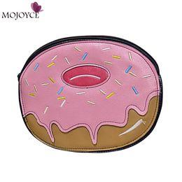 Wholesale Uk Street Fashion - Wholesale-Donut Novelty Shoulder Handbag 2016 New US UK Street Fashion Trend Sweet Cute Pink Donut Hamburger Bag Wallet Purse