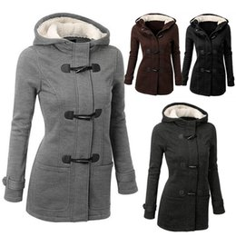 Wholesale Women Winter Pea Coat - Winter Warm Womens Claw Clasp Wool Blended Classic Pea Coat Jacket