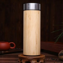 Wholesale Travel Vacuum Flask Coffee Mugs - Bamboo Thermos Bottle 360ml Stainless Steel Tumbler Vacuum Flasks Insulated Bottles Coffee Mug For Travel Tea LJJO3542