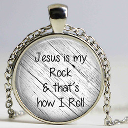 Wholesale Wholesale Faith Jewelry - Jesus is my rock and that's how I roll necklace Faith Pendant Christian Inspirational jewelry glass Cabochon Necklace