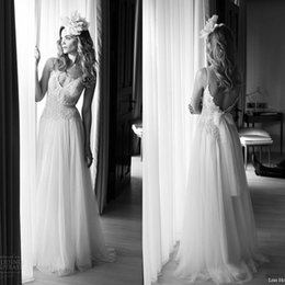Wholesale Spagetti Strap Lace Wedding Dress - lihi hod vintage wedding dresses 2015 bridal gown spagetti strap v neckline beaded lace bodice tulle a line skirt full length bridal dresses