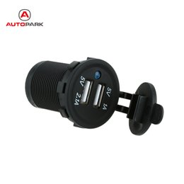 Wholesale Adapter For Car Outlet - Wholesale- DC 5V 2.1A 1A Dual USB Motorcycle Socket Charger Power Adapter Outlet Mobile Phone Chargers for Car Truck Minibus Motorcycles