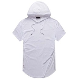 Wholesale justin bieber clothes Mens Longline Curve Hem t shirt Hooded Mens Hipster Hip Hop Side Zip short sleeve T shirt