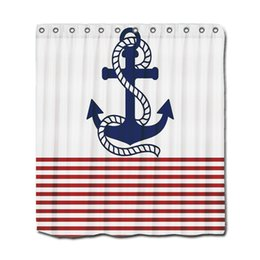 Wholesale White Polyester Shower Curtain - Customs 36 48 60 66 72 80 (W) x 72 (H) Inch Shower Curtain Nautical Red White Stripes And Blue Anchor Polyester Fabric Shower Curtain