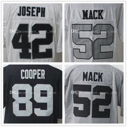 Wholesale Elite Stitch Football Jerseys - Elite Game 89 Amari Cooper 52 Khalil Mack 42 Karl Joseph Stitched Black White gray Men jerseys Hot sale