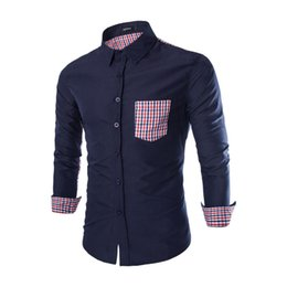 Wholesale Decorated Collar Shirt - Spring and summer new men's Plaid Shirt Men's Shirts Pocket Decorate Long-sleeve Men Dress Shirt 8677