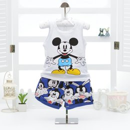 Wholesale Childern Clothes - 2017 New Summer Mickey Baby Boys Clothing Set Vest and shorts pants Kids Boy suit Cartoon Sport Suit Vest childern clothes Set