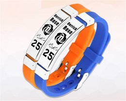 Wholesale Rubber Power - New arrival energy rubber bangle power sport silicone wristband super star signature balance bracelet size can adjust for rose