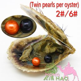Wholesale Jewelery Pearls - Wholesale cheap freshwater beads 6-7mmAAAA round akoya pearls in twins oysters with vacuum packaging for women jewelery making