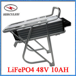 Wholesale 48v Lifepo4 - Rear Rack Battery 48V 12AH 16S7P 18650 LiFePO4 Battery Pack 10.5AH Long Life Cycle For Electric Bicycle 48 Volt