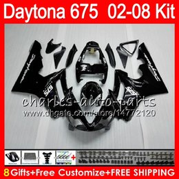 Wholesale Triumph Daytona675 - 8 Gifts 23 Colors For Triumph Daytona 675 02 03 04 05 06 07 08 Daytona675 4HM1 Daytona 675 2002 2003 2004 2005 2006 2007 2008 Black Fairing