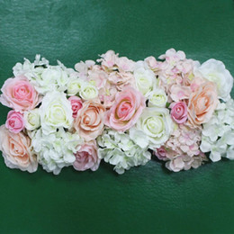 Wholesale Led Silk Roses - Artificial Silk Flower Wedding Road Lead Hydrangea Peony Rose Flower for Wedding Arch Square Pavilion Corners Decorative Flores
