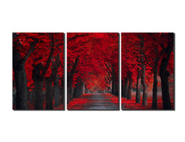 Wholesale Paint Art Work - Peace Large Modern 3 Panels Red Forest Landscape Giclee Canvas Print Wall Art Work to Hang For Living Room Kitchen Home