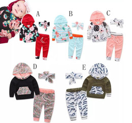 Wholesale Three Piece Boys Hooded Outfit - 2017 new Children outfits autumn girls boys Bow headband+Hooded printing top+pants 3pcs set baby Floral suits A080