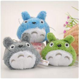 Wholesale Totoro Plush Free Shipping - Miyazaki Hayao My Neighbor Totoro Mini Plush Toy Doll with Ring KeyChain 8cm Soft Stuffed Doll Free Shipping 10pcs lot