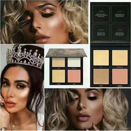 Wholesale Eye Shadow 3d - New Arrival HD Beauty 3D Highlighter Palette 4 Colors Eye shadow Palette gold sands edition & pink sands edition 2 Style Face Makeup Powder
